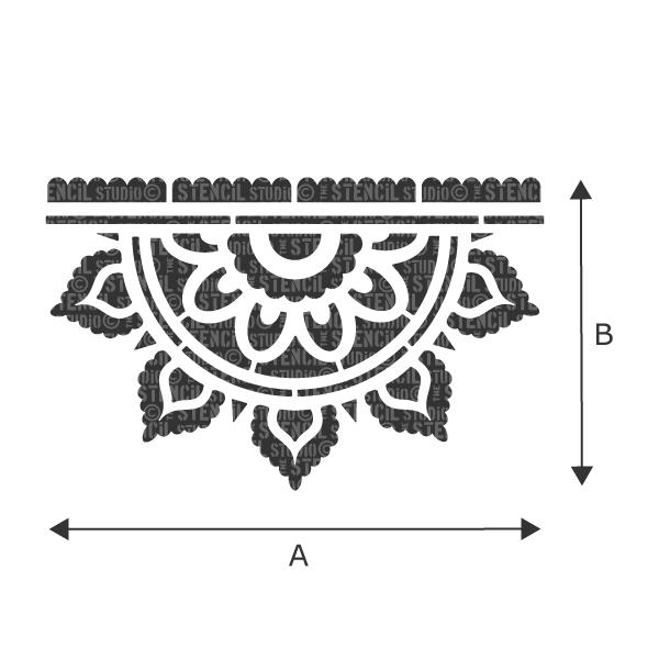 Sunray Mandala Border stencil - Indian style stencils from The Stencil Studio. Refer to drop down box to see measurements for A & B for each size option.