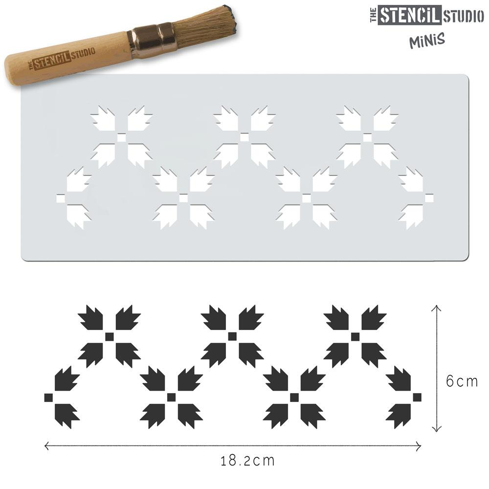 Carnation Flower Border Stencil MiNi from The Stencil Studio