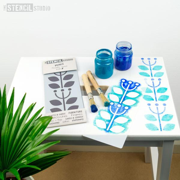 Stencil MiNiS from The Stencil Studio Ltd - Sanna Flower Border Scandi furniture and crafts stencils