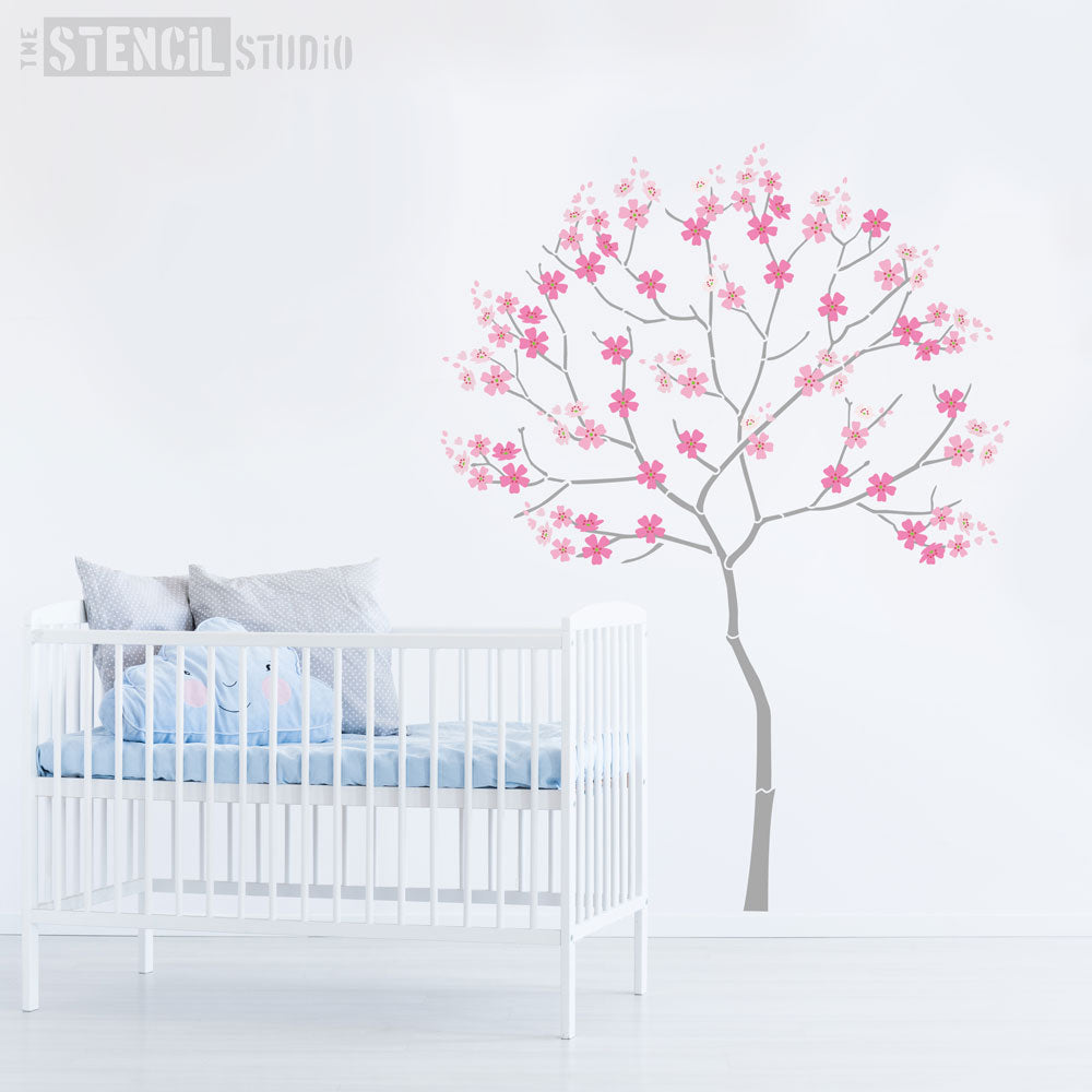 Round Tree with Cherry Blossoms Stencil Pack