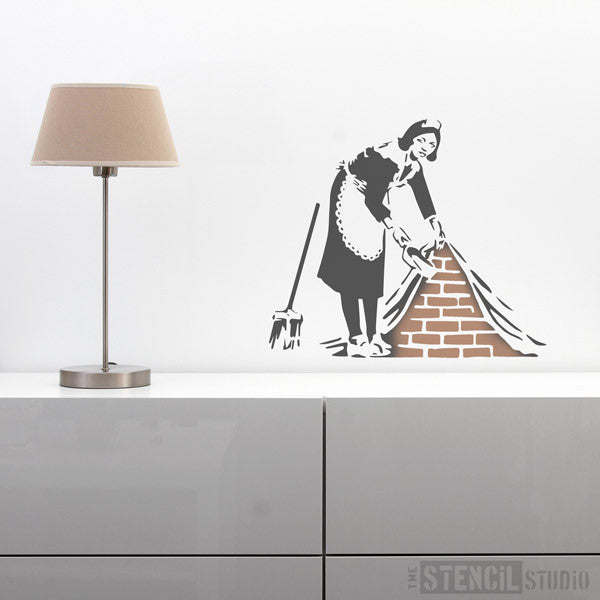 Banksy style Maid stencil from the stencil studio ltd size L