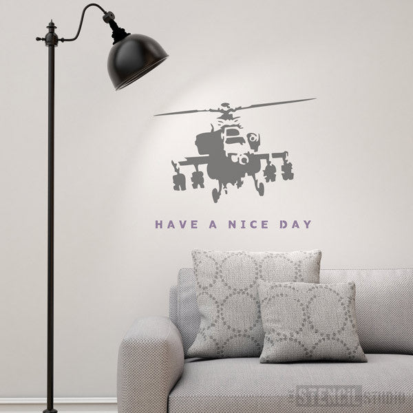 Banksy style stencil have a nice day from the stencil studio ltd size XL