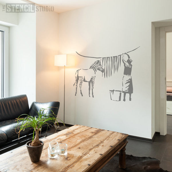 Banksy Zebra Wash Day stencil from THE STENCIL STUDIO LTD - SIZE XXL