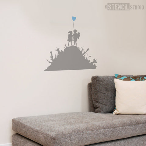 Banksy style stencil kids on guns from the stencil studio ltd size xl