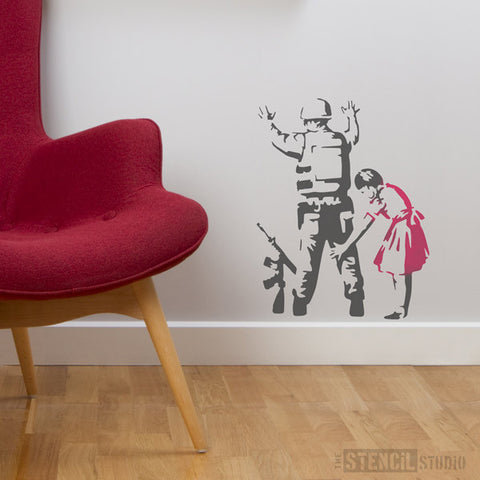 Banksy Soldier Frisk Stencil from The Stencil Studio Ltd - Size M
