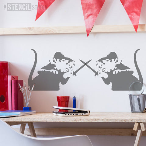 Banksy Style stencils - Sword Rat stencil from The Stencil Studio Ltd - Size L