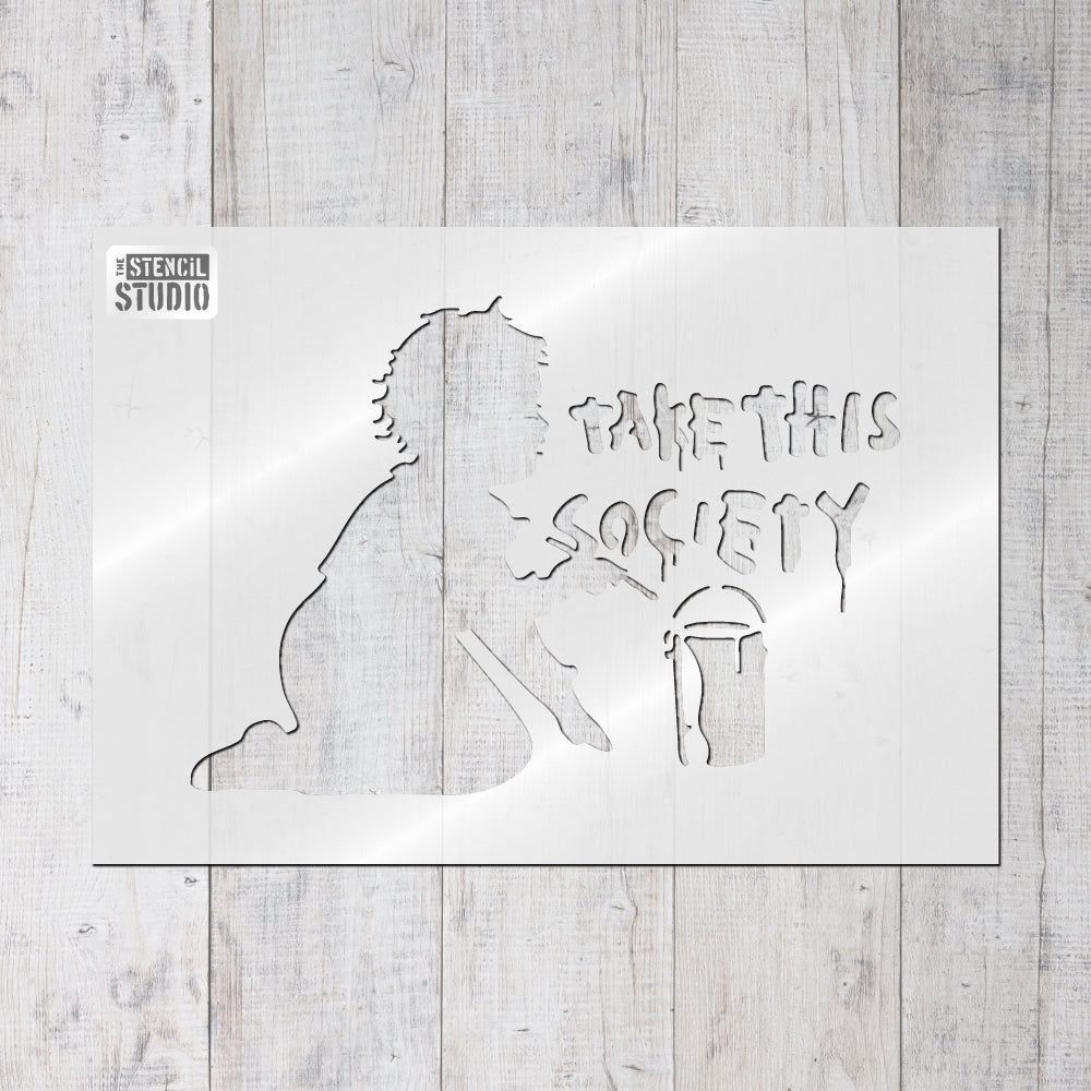 Take this society Banksy style stencils from The Stencil Studio