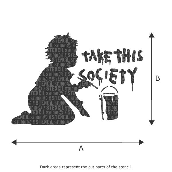 Banksy Style stencils - Take This Society stencil from The Stencil Studio Ltd