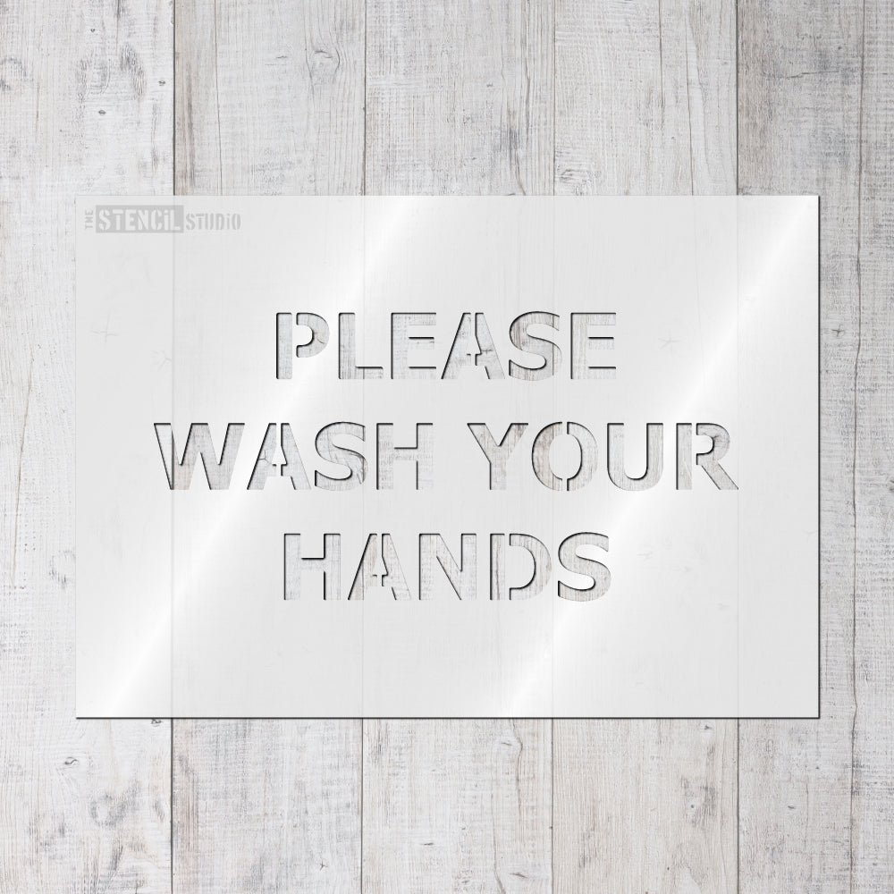 COVID19 Social Distancing Stencil - Please Wash Hands Stencil