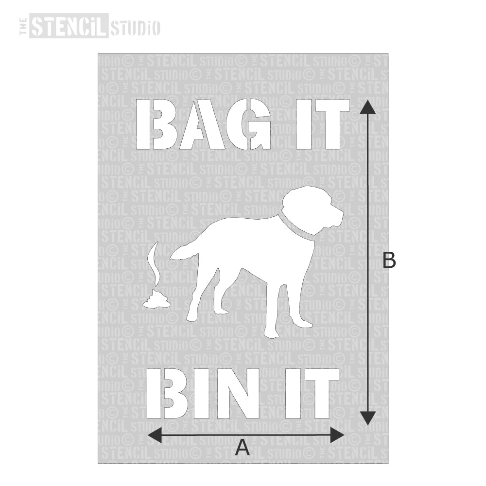 Bag it, Bin it with dog Stencil