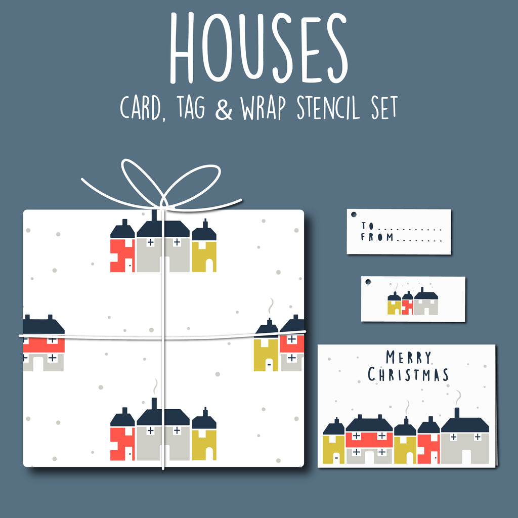 Houses Card, Tag & Wrap Stencil Set