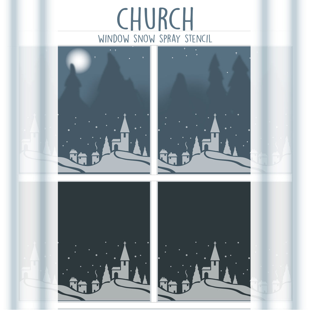 Church Window Snow Spray Stencil