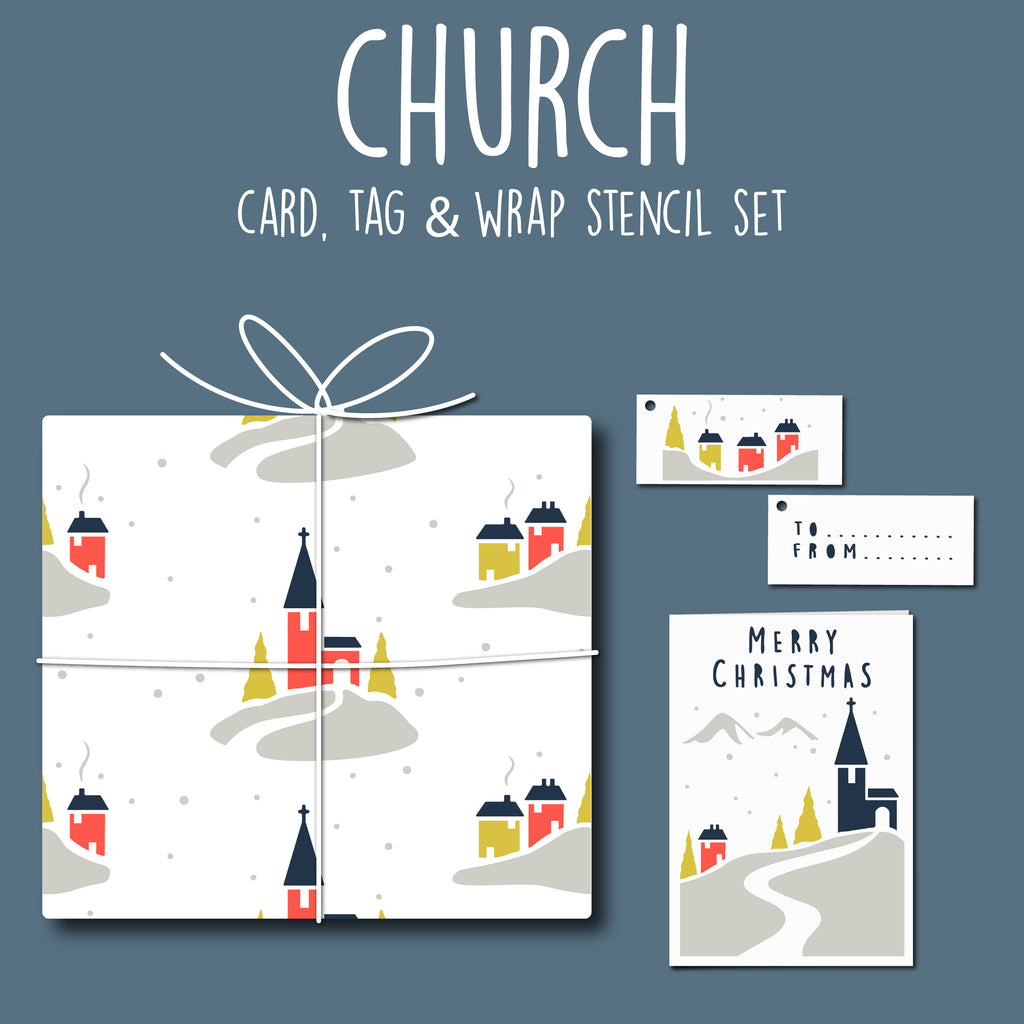 Church Card, Tag & Wrap Stencil Set