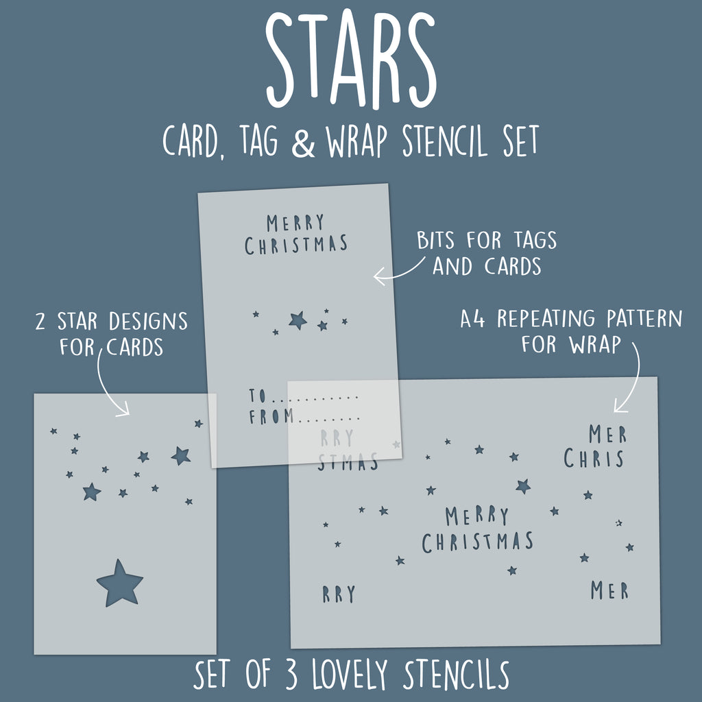 Stars Card, Tag & Wrap Stencil Set
