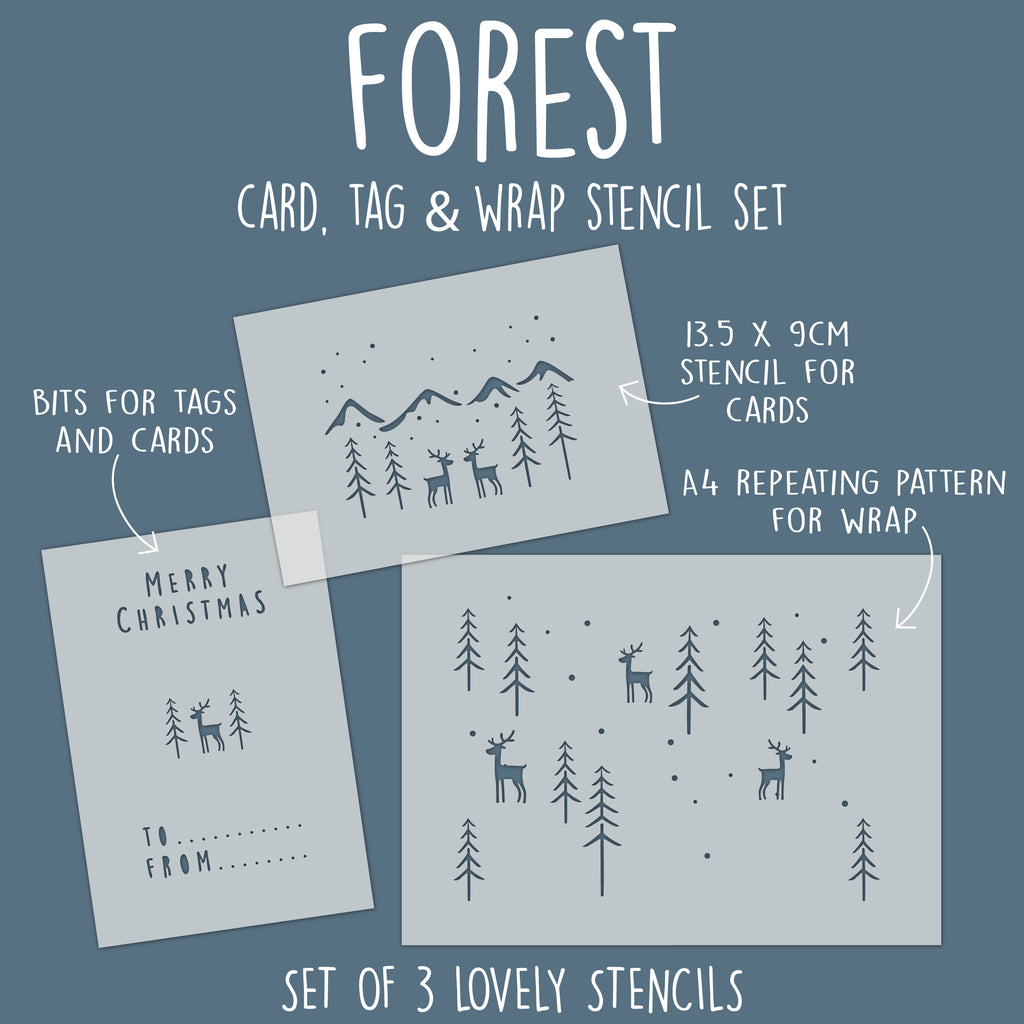 Forest Card, Tag & Wrap Stencil Set