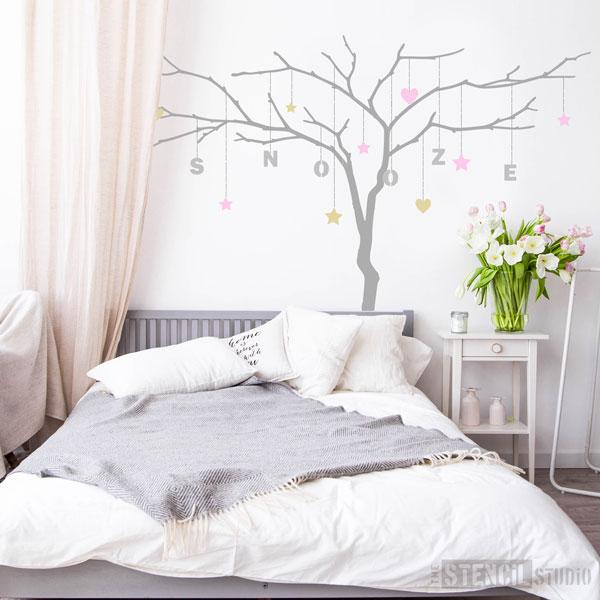 large branch tree stencil for grown up rooms and bedrooms, write any name or phrase you like!