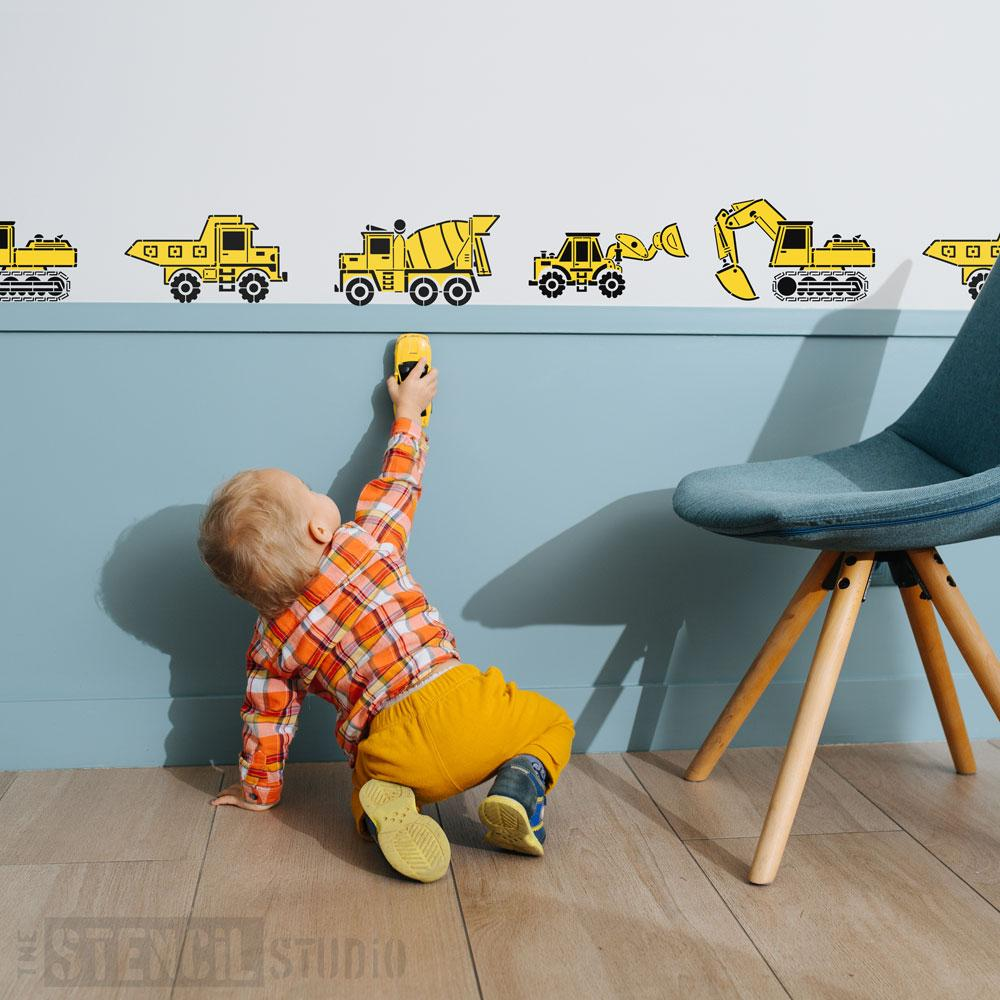 Construction vehicle stencils form The Stencil Studio - Size S/A4