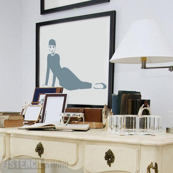 Audrey Hepburn reclining stencil from the stencil studio ltd size XL