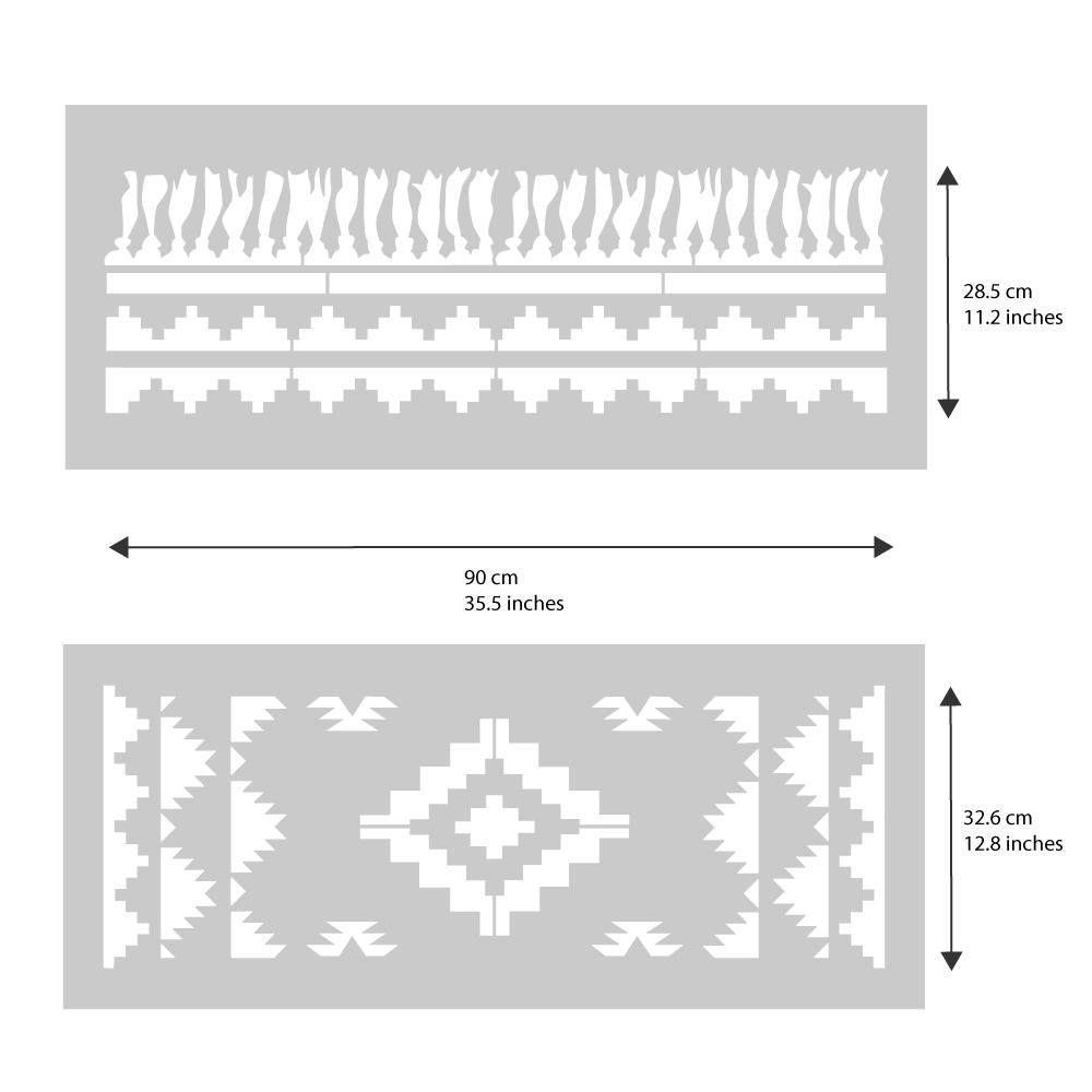 Navajo Rug Stencil from The Stencil Studio - stencil dimensions
