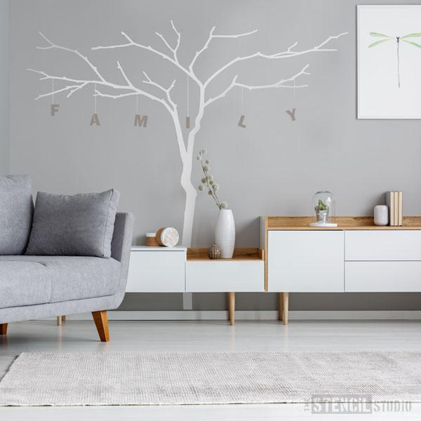 Large branch tree stencil with alphabet stencils for personalising