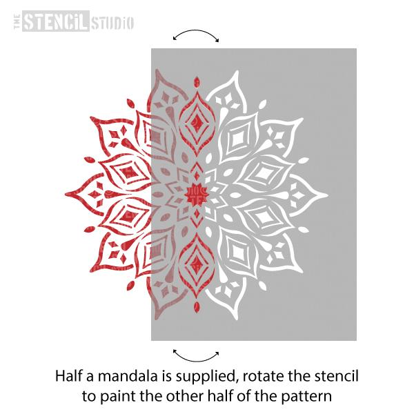 Rohan Indian Mandala Stencil, you'll get half a mandala, rotate the stencil to paint the other half of the pattern