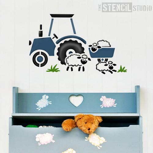Tractor and Sheep stencil from The Stencil Studio Ltd - Size M