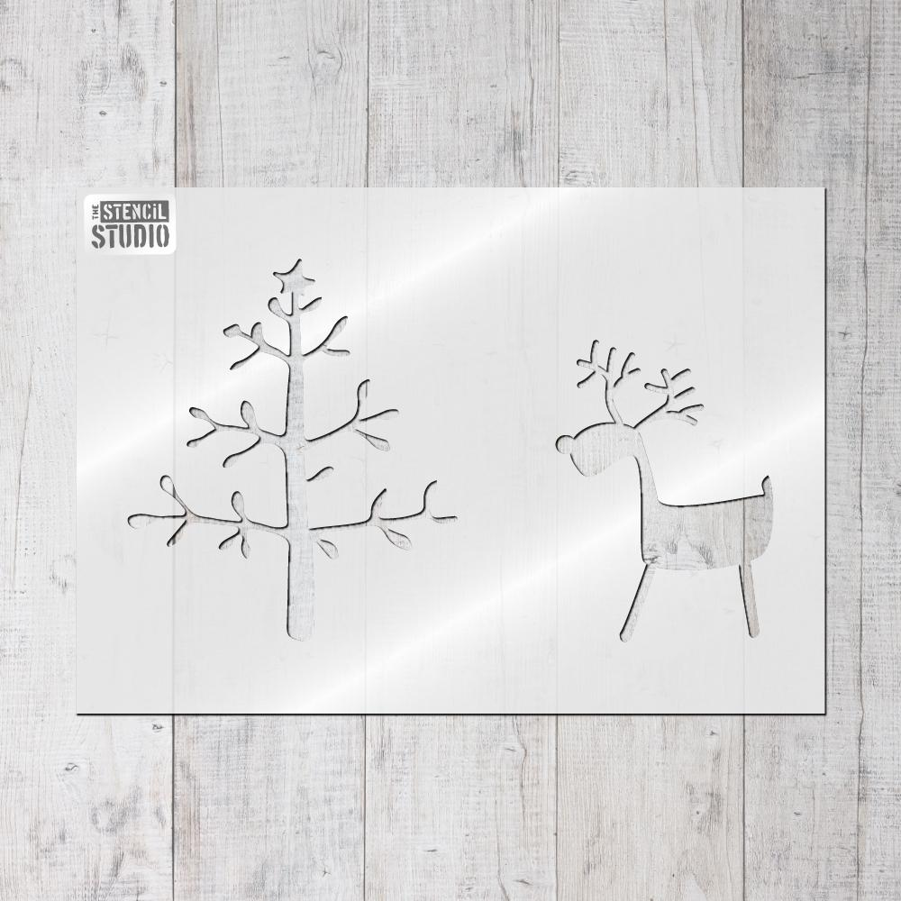Reindeer & Tree stencil from The Stencil Studio