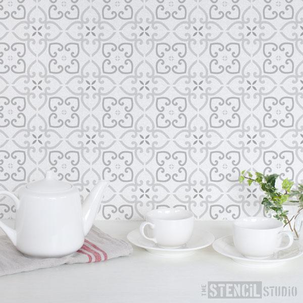 Whitminster Tile stencil from The Stencil Studio - Size 6 inch