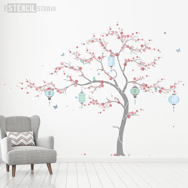 Cherry Blossom Sakura Tree stencil pack from The Stencil Studio - Grey and blue room scheme