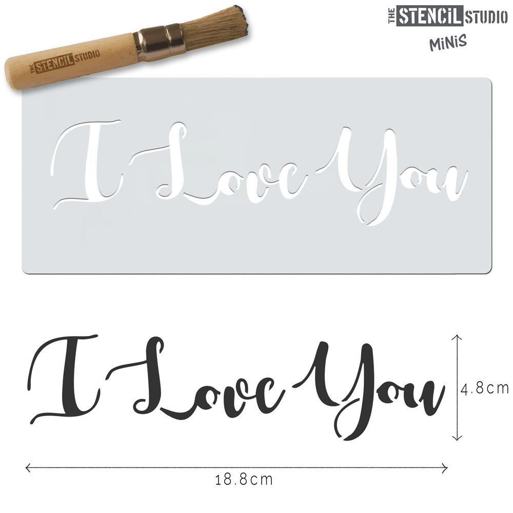 I Love You text stencil MiNi from The Stencil Studio