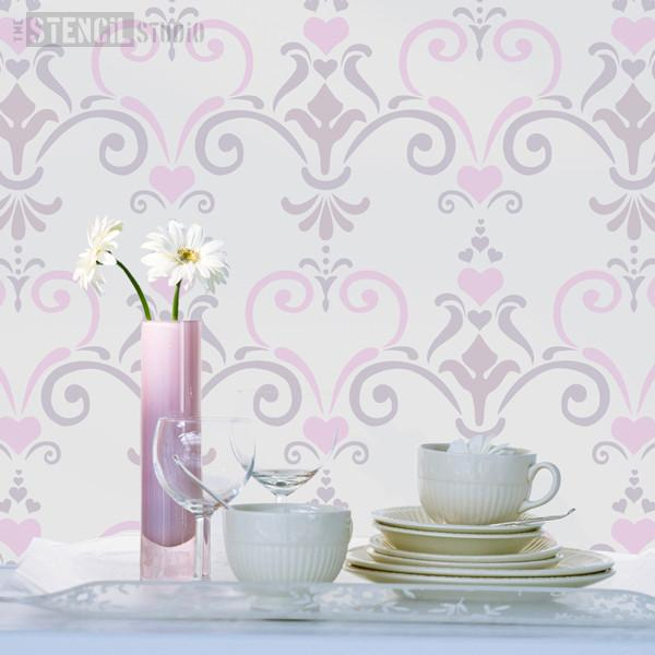 Love Damask stencil from The Stencil Studio Ltd - Size M
