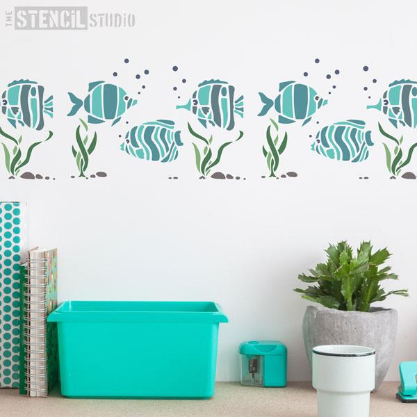 Tropical Fish Border stencil from The Stencil Studio - Size S