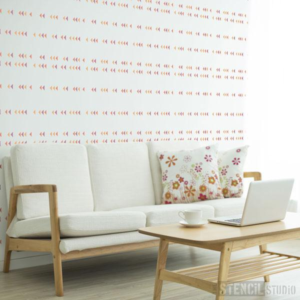 Trekant diamond pattern stencil from The Stencil Studio Scandi stencils range - Size S