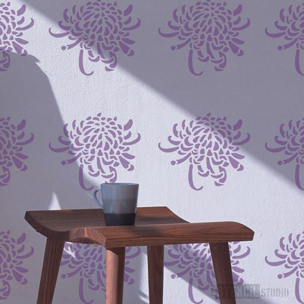 Chrysanthemum flower head stencil from The Stencil Studio Ltd - Size S
