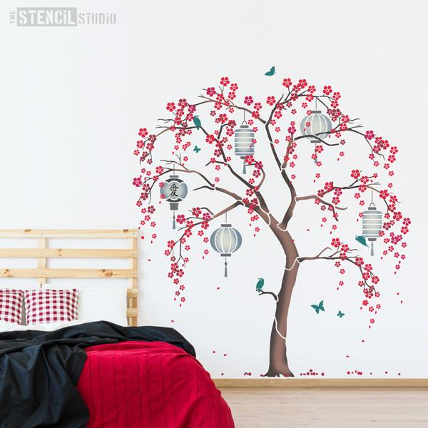 Cherry Blossom Sakura Tree stencil pack from The Stencil Studio - Grey and red bedroom scheme