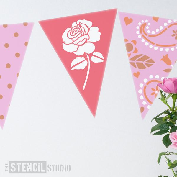 Rose Bunting stencil from The Stencil Studio Ltd - Size XS