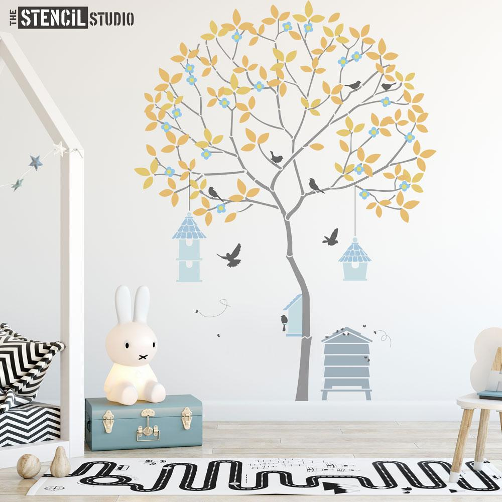 Round Tree with Birds, Birdhouses, Beehive and Bees, a fabulous wall mural stencil from The Stencil Studio - this Size is XL