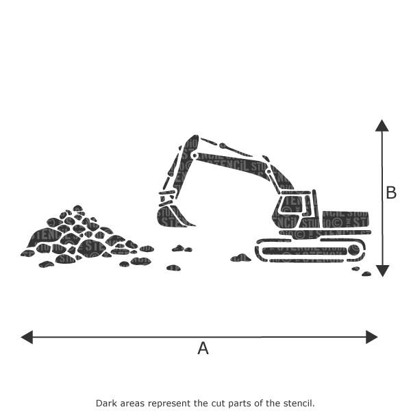 Digger/Excavator stencil from The Stencil Studio Ltd
