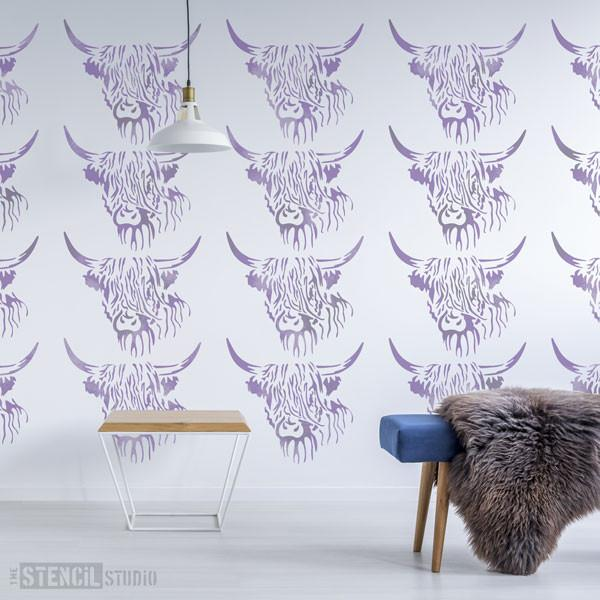 Hamish Highland Cow stencil from The Stencil Studio - Size L