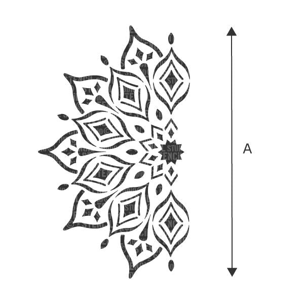 A = the diameter of the whole mandala, once painted. Choos a size from the dropdown box