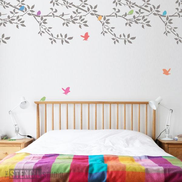 Burford Branch Border stencil with birds from The Stencil Studio Ltd - Size XL