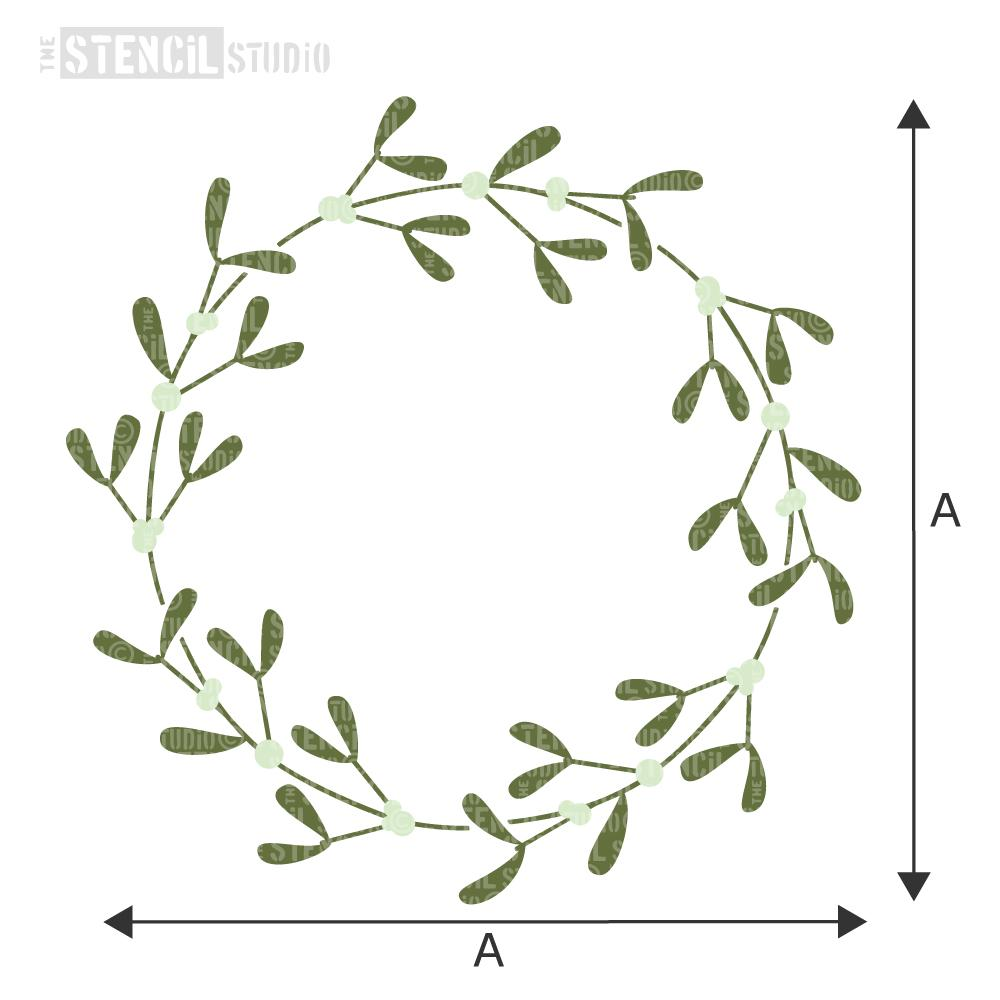 mistletoe wreath stencil, christmas stencils, holiday stencils. Choose size from dropdown box