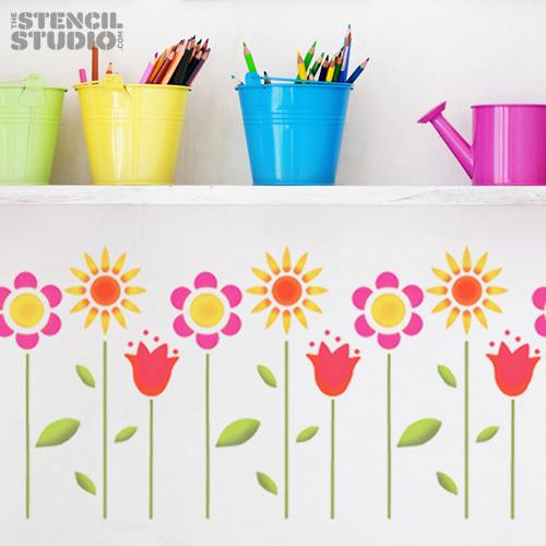 Funky flowers stencil from The Stencil Studio Ltd - Size M