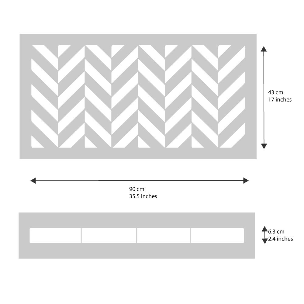 Chevron Rug Stencil from The Stencil Studio - stencil dimensions
