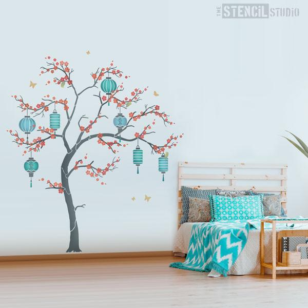 Cherry Blossom Sakura Tree stencil pack from The Stencil Studio - Red and Turquoise room scheme