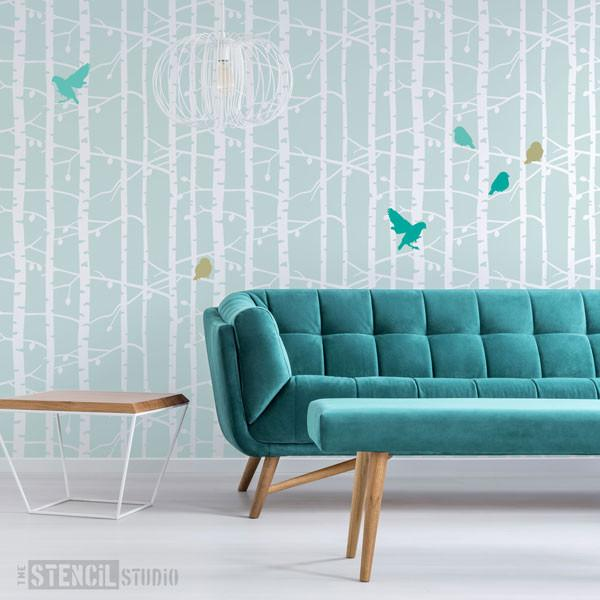 Birch Tree repeat forest stencil from The Stencil Studio Ltd - Size XL plus Sparrows Stencil Size M/A3