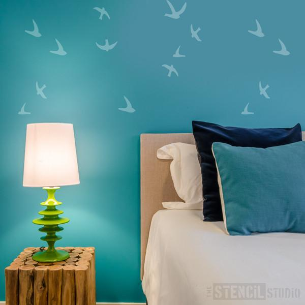 Flight of swallows stencil from The Stencil Studio Ltd - Size XL