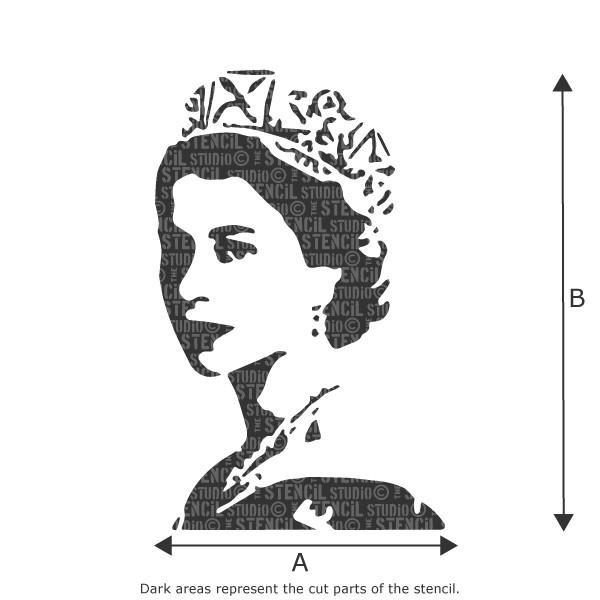 Young Queen Elizabeth stencil from The Stencil Studio Ltd