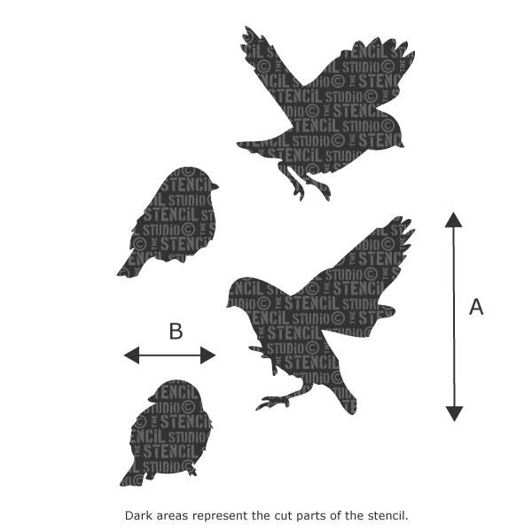 Sparrows stencil from The Stencil Studio - Size illustration - see drop down for AxB measurements
