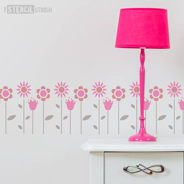 Funky flowers stencil from The Stencil Studio Ltd - Size XS
